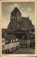 Cp Greifswald In Mecklenburg Vorpommern, Marienkirche, Carl Riebe Kolonialwaren Delikatessen - Allemagne