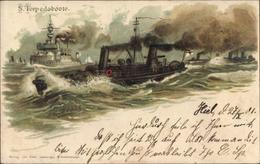 Gaufré Artiste Lithographie Siehl, J.G., Deutsche Kriegsschiffe, Torpedoboote, Kaiserliche Marine - Ohne Zuordnung