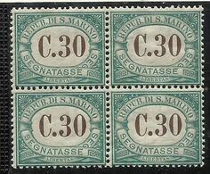 REPUBBLICA DI SAN MARINO 1897 1919 SEGNATASSE POSTAGE DUE TASSE TAXE CENT. 30 MNH QUARTINA BLOCK - Segnatasse