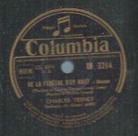 """78 Tours - CHARLES TRENET  - COLUMBIA 3214  """" DE LA FENETRE D'EN HAUT """" + """" FORMIDABLE """" - 78 T - Disques Pour Gramophone"""