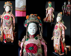 Thiezi Kuilei, Ancienne Marionnette De Chine : Membre De La Famille Impériale / Old Chinese Puppet Imperial Court Member - Art Asiatique