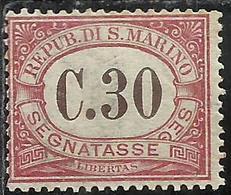 REPUBBLICA DI SAN MARINO 1924 SEGNATASSE POSTAGE DUE TASSE TAXE CENT. 30c MNH - Segnatasse