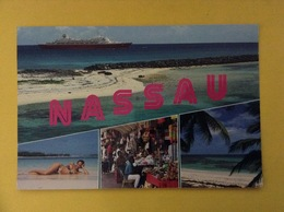 CARTOLINA FORMATO GRANDE VIAGGIATA NASSAU BAHAMAS NAVE VEDUTE - Bahamas