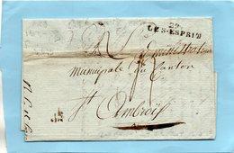"""Linéaire """"29 LE St ESPRIT"""",L.A.C. Du 11 Frimaire An 8-cachet Commandant De La Place. - 1701-1800: Voorlopers XVIII"""