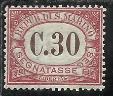 REPUBBLICA DI SAN MARINO 1924 SEGNATASSE POSTAGE DUE TASSE TAXE CENT. 30c MNH BEN CENTRATO - Segnatasse