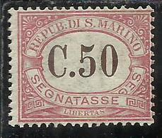 REPUBBLICA DI SAN MARINO 1924 SEGNATASSE POSTAGE DUE TASSE TAXE CENT. 50c MNH - Segnatasse