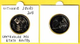 LITUANIE Commémorative 2 Euro - CENTENAIRE DES ÉTATS BALTES - 2018 - Lituania