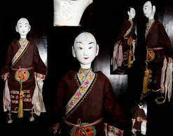 Ancienne Marionnette De Chine : étudiant / Old Chinese Puppet Featuring A Young Student - Art Asiatique