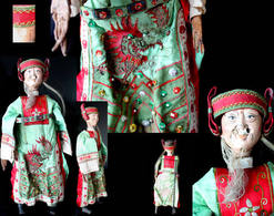 Ancienne Marionnette De Chine : Le Vieux Lettré /Old Chinese Puppet Featuring The Old Wise Schola - Puppets
