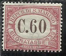 REPUBBLICA DI SAN MARINO 1924 SEGNATASSE POSTAGE DUE TASSE TAXE CENT. 60c MNH - Segnatasse