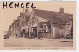 """BALAGNY-sur-THERAIN .Café De La Place,Débit De Tabac.Voiture: Citroen Traction.Pompe à Essence.Enseigne""""UNICO"""" - Francia"""
