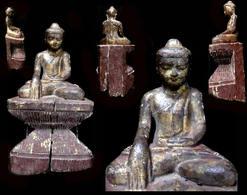 Beau Bhumisparsa Bouddha De Mandalay XIXème / Old Burmese Bhumisparsa Buda Sculpture From Mandalay Area - Art Asiatique