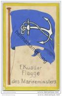 Ecuador - Flagge Des Marineministers - Keine Ansichtskarte Grösse Ca. 14 X 9 Cm Etwa 1920 Handgemalt - Ecuador