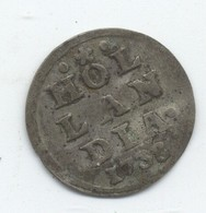 PAYS BAS 1 STUIVER ARGENT 1738 HOLLANDIA - 1 Cent