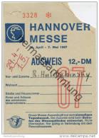 Hannover Messe 1967 - 29. April - 7. Mai Ausweis - Eintrittskarte - Eintrittskarten