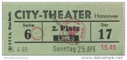 Hannover - City-Theater 1965 - Eintrittskarte - Eintrittskarten