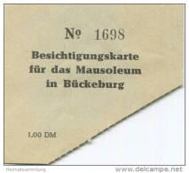 Bückeburg - Eintrittskarte Für Das Mausoleum 50er Jahre - Eintrittskarten