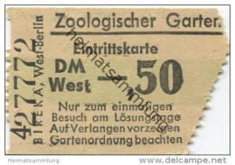 Zoologischer Garten - Eintrittskarte DM -,50 West - Eintrittskarten