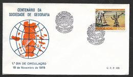 Portugal FDC 1975 Centenaire Societé Géographie De Lisbonne Cachet Funchal Madère Geographical Society FDC Madeira Pmk - Geographie