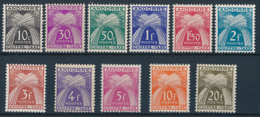 ANDORRA 1943 TAXE Y&T 21-31 Set Of 11v**MNH - Segnatasse