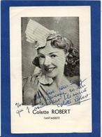 Autographe Signature à L'encre Colette ROBERT Sur Carton - Autographes