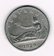 =&  SPANJE 5 PESETAS 1870 ( COPIE ? ) - [ 5] 1949-… : Royaume