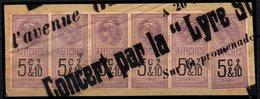Fiscal Fiscaux,Affiche Bande De 6 - 5c  Sur Fragment TTB - Fiscaux