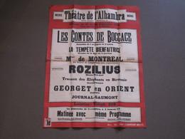 MONS - THEATRE DE L'ALHAMBRA - PROGRAMME DE LASEMAINE DU 17 AU 22 /09/1920- Contes De Boccace/La Tempête Bienfaitrice... - Posters