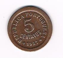 =&  PORTUGAL  5  CENTAVOS  1927 - Portugal