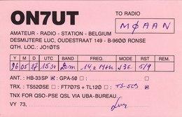 Belgian Amateur Radio QSL Card ON7UT Ronse Belgium 1996 Desmijtere - Radio Amateur