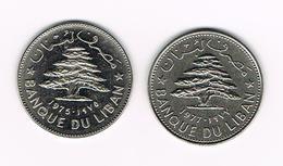=&   LIBANON  2 X 1  LIVRE  1975/1977 - Liban