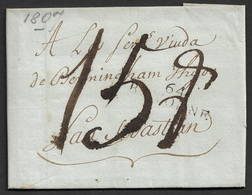 1809 LAC Departemental Bayonne A San Sebastian, Espagne. Belle Ecriture - 1801-1848: Précurseurs XIX