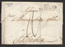 1800 LAC Departemental Bayonne A San Sebastian, Espagne. - Marcophilie (Lettres)