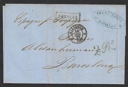 1857 LAC Marseille A Madrid - Marque Frontiere Francia - 1849-1876: Classic Period