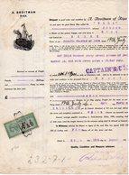 Fiscal Fiscaux,Connaissements, N° 20 Sur Document Entier Belle Gravure Navire, 1926 - Fiscaux