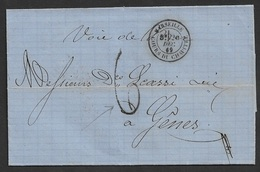 1869 LSC De Marseille A Genes ( Genua )  - Voie De Mer - Cours Du Chapitre - 1849-1876: Classic Period