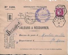 89 1488 Valeurs à Recouvrer TAD 30/4/40 Timbre Cérès 3F - Collections