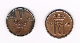 =&   NOORWEGEN  2 X 1 ORE 1948/1956 - Norvège