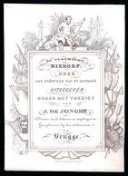 BRUGGE PORSELEINKAART 14 X 10 CM - DE VLAEMSCHE BIEKORF BOEK VAN ONDERWYS NUT EN VERMAAK - LITH DAVELUY - Brugge