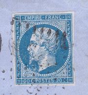 N°14 Yvert Sur Lettre De Vertus Pour Paris.Case 129G2 Variété Suarnet 10.  Tb état Complet. - 1862 Napoléon III