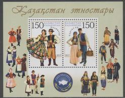 KAZAKHSTAN, 2017, MNH, CULTURES, ETHNIC GROUPS, POLES AND TURKS, COSTUMES, SHEETLET - Costumes