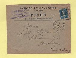 Convoyeur - Blois à Orleans - 1921 - Sabots Et Galoches - Marcophilie (Lettres)