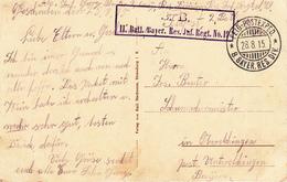 CP Obl FELD-POSTEXPED * 8. BAYER RES DIV Du 28.8.15 + Cachet II. Batl Bayer Res Inf Regt No 19 Pour Oberelchingen - Guerre De 1914-18