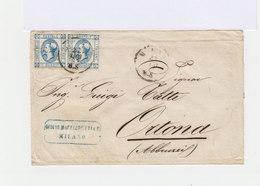 Sur Enveloppe Paire De 15 C. Bleus Type Effigie 1863. CAD 1865. (635) - Marcophilie - EMA (Empreintes Machines)