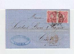 Sur Lettre Avec Correspondance Paire Empire 10 P. Rose Carmin. CAD Colmar 1877. (636) - Lettres