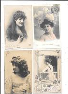 10859- Lot De 4 CPA Portraits CARMEN,JANE DELORME,DIETERLE,ELISE DE VERE - Donne