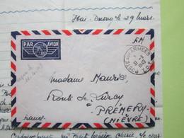Militaria ENVELOPPE + LETTRE 29/03/1949 Par Avion, Oblitérée POSTES Aux ARMEES I.O.E - HAÏ PHONG  Pour Prémery (Nièvre) - Poste Aérienne