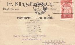 SCHWEIZ 1924 - 20 C (Ank211) Auf Firmen Pk Gel.v. Basel Nach Leipzig - Briefe U. Dokumente