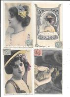 10862- Lot De 4 CPA Portraits REUTLINGER Cartes Avec Paillettes : Taxil,Florval,Linares,Jane Kerville - Donne