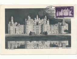 Carte Maximum, Château De CHAMBORD - Premier Jour - 1950-59